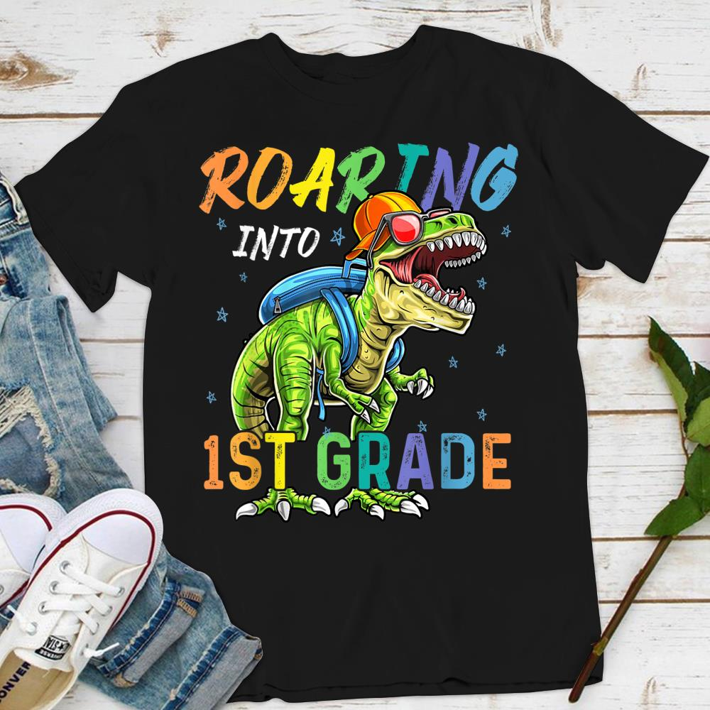 Kids 1st Grade T Shirt Dinosaur School Shirt Boy/'s Girl/'s Roaring Into T Rex K F