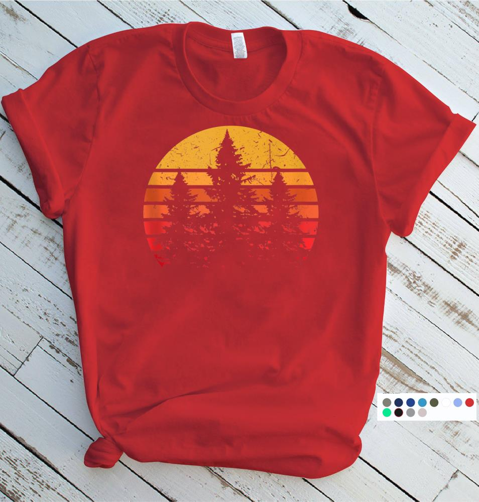 Distressed Trees Graphic Sunset Nature Tank Top Mountains Forest Tank Top Women/'s Racerback Tank Camping Tank